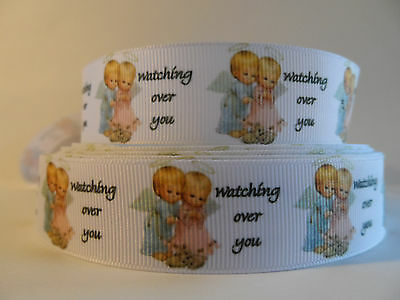 "Grosgrain Ribbon, Angels Watching Over You, Baby Angels, 1"" Wide (Choose Yards)"