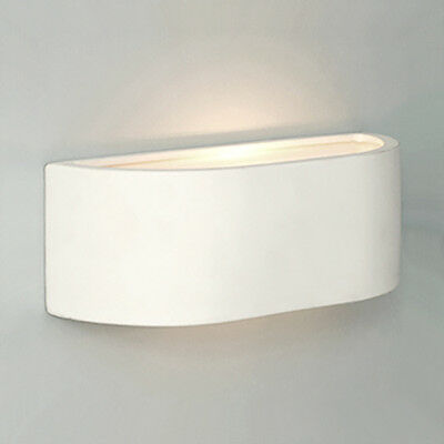 Mini White Ceramic Curved Modern Indoor Up & Down Compact Wall Light Lamp