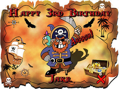 Pirate Treasure Map Real Edible Icing Cake Image Party Topper Frosting Sheet
