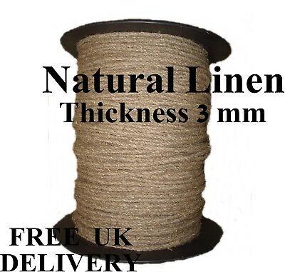 Linen Flax Rope Line Tie Hemp Natural Craft Twisted Twine Braided Cord 3mm