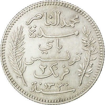 [#83726] TUNISIA, 2 Francs, 1912, Paris, KM #239, AU(50-53), Silver, Lecompte