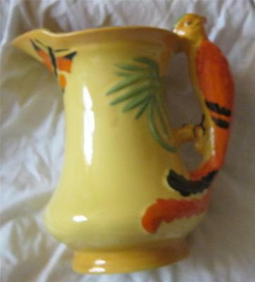 Vintage burleigh ware ceramic jug with parrot handle