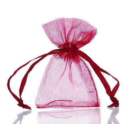 125PCs 5cm x7cm Wine Red Organza Gift Bags Wedding/Christmas Favor