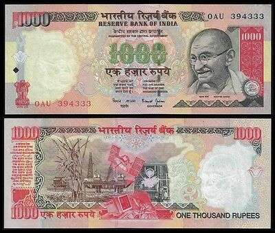 India 1000 RUPEES ND 2000  NO Letter Sign 88 P 94a UNC