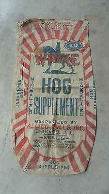 Vintage Wayne Hog Supplement Allied Mills Chicago Peoria Ft Wayne Feed Sack