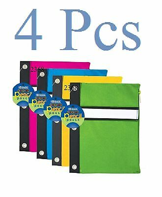 4 pcs  Bright Color 3-Ring Pencil Pouch,   ( colors may vary )