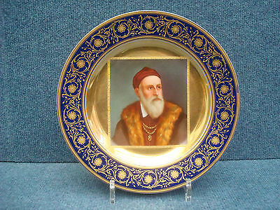 """Royal Vienna Porcelain Plate Nice Quality With Portrait Of """"tizian""""  1850-1890"""