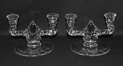 Pair New Martinsville Teardrop Double Candlestick Holders Etched c1938 (P1965)