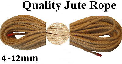 Natural Jute Rope Line Hemp Sash Craft Twisted Twine Braided Decking Cord