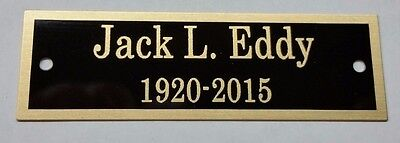 """Engraved Solid Brass 1"""" x 3.25"""" Plate Picture Frame Art Label Name Tag"""