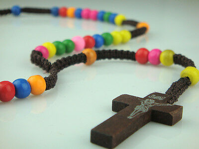 Dark Brown Rope Rainbow Wooden Beads Religious Necklace Rosary With Brown Cross
