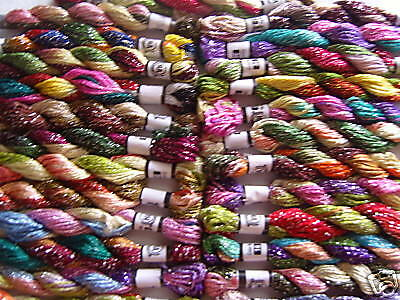 25 Metallic Hand Embroidery  MultiColoured Skeins, Best Quality, 25 nice colours