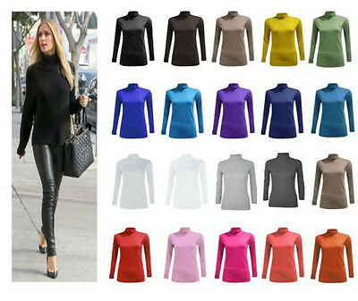 Womens Ladies Long Sleeves Polo Neck Stretch Top Turtle Neck Jumper Sizes 8-26