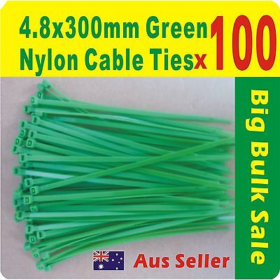 100 x Green Nylon Cable Ties 4.8mmX 300mm Free Postage