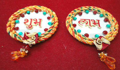 2 PC INDIAN MIRROR RED GREEN YELLOW SUBH SHUBH LABH WALL DOOR HANGING FESTIVAL