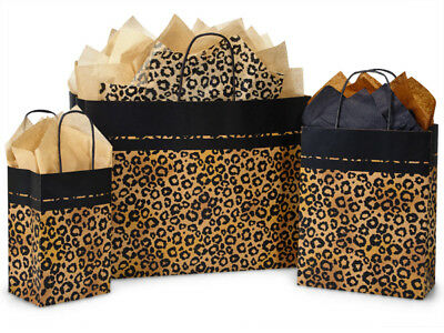 Lot 125 Recycled Kraft Leopard Print Paper Gift Wrap Bags 3 Sizes big Cat Pets
