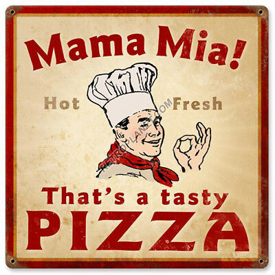 Pizza Mama Mia That's Tasty Italian Chef Vintage Kitchen Metal Sign 12 x 12