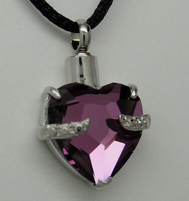 PURPLE CREMATION JEWELRY HEART CREMATION URN NECKLACE MEMORIAL URN PENDANT