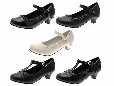 Girls Kids Faux Leather Mary Jane T Bar Party Shoes Low Heels Wedding Size 10-2