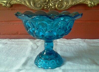 """6.75"""" Blue Turquoise LE Smith Candy Dish Compote Ornate Glass Moon and Stars"""