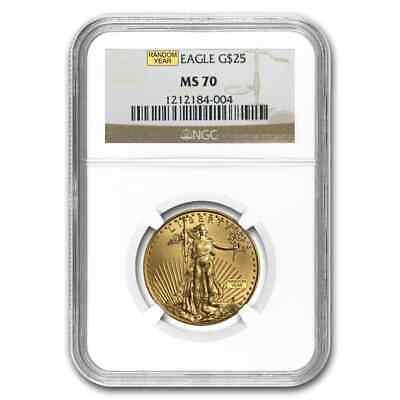 1/2 oz Gold American Eagle Coin - Random Year - MS-70 NGC - SKU #83494