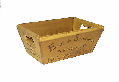 Vintage antiqued wooden Trug, Strawberries