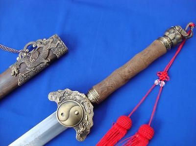 CHINESE Damascus steel hand-made four images and Tai Chi sword Rosewood scabbard