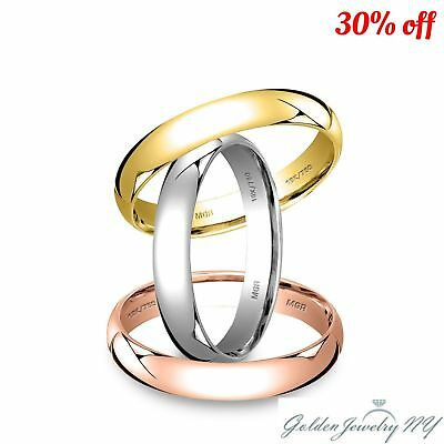 Solid 18K White Yellow Rose Gold Plain Comfort Fit Wedding Band Ring Mens Women