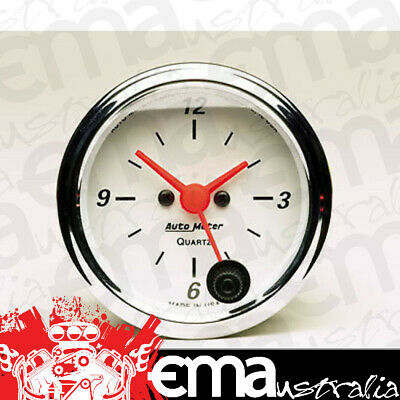 "Autometer Arctic White 2-1/16"" Electric Clock Quartz Movement Au1385"