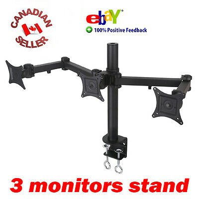 Triple LCD Monitor Desk Stand/Mount clamping 3 Screens 17 18 19 20 21 22 24""