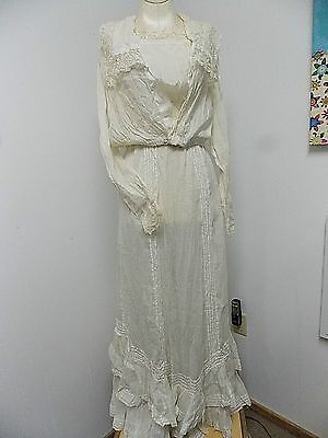 Vintage Victorian  Lawn Dress with Embroidery Lace Ruffles 2 Pc Skirt & Top