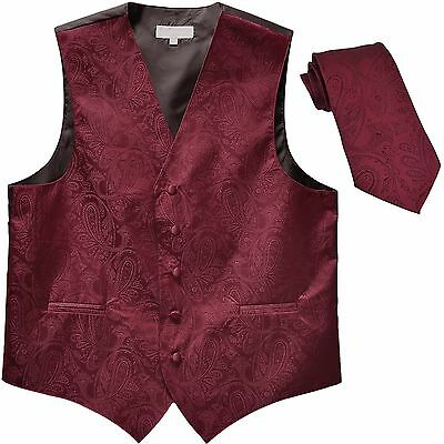New Men's Formal Vest Tuxedo Waistcoat_necktie paisley pattern prom Burgundy