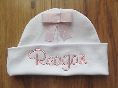 a92c6c4f6 PERSONALIZED MONOGRAM CUSTOM Baby Girl Newborn Hospital Hat Beanie ...