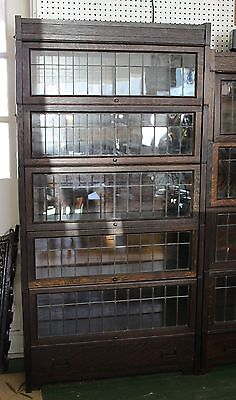 Antique Lundstrom Sectional Barrister Book Case, 5 section, Oak, leaded glass