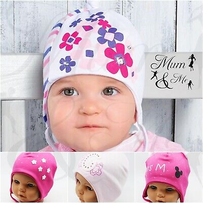 Baby Girls Toddler Lace Up Hat - Infant Girls Aviator Hat Cotton Earflap Cap