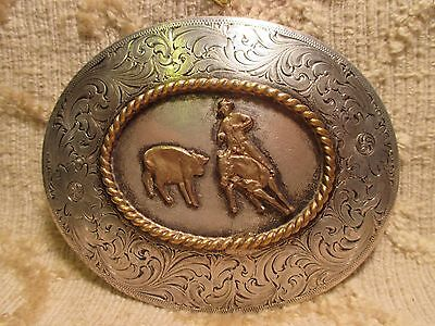 WAGE SOLID STERLING SILVER Front TROPHY Cutting Horse BELT BUCKLE MAKE OFFER