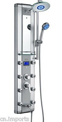 """51"""" Aluminum Shower Panel Spa Tower with Massage Jets Spout & LED Showerhead"""