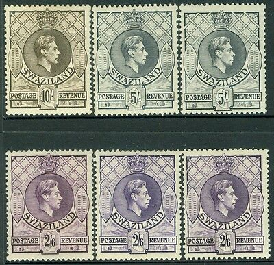 SWAZILAND : 1938-54. Stanley Gibbons #36, 36a, 36b, 37a, 37b, 38. MOGH Cat £266.