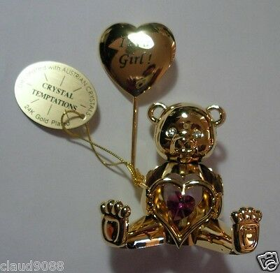"Crystal Temptations Austrian Crystal 24K Plated Greeting Bear ""it's A Girl""  Mib"
