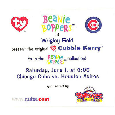 TY Beanie Bopper Commemorative Card & Ticket - CUBBIE KERRY (Chicago Cubs - SGA)