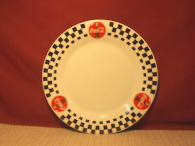 Gibson Dinnerware Coca Cola Design Black Checks Coke In Red Circle Dinner Plate
