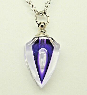Purple, Blue or Green Art Deco Glass Cremation Urn Necklace