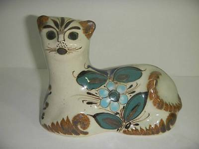 Vintage Hand Decorated Mexican Mexico Pottery CAT Talavera De La REINA Signed