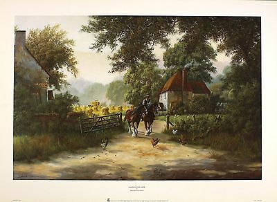 "SPENCER COLEMAN ""Down on Farm"" shire horses NEW PRINT! SIZE:36cm x 55cm  RARE"