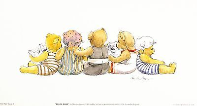 CHRISTINE GROVES teddy bears in beach costumes art SIZE:15cm x 30cm  RARE