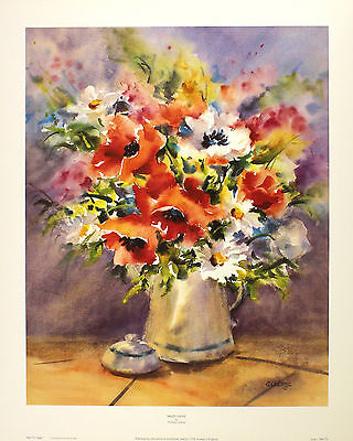 CHRISTINE ADAMS poppies daisies decorative art SIZE:51cm x 41cm  RARE