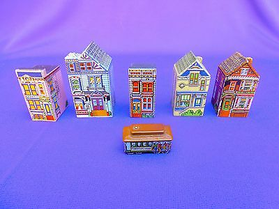 """RARE WADE Whimsies - 1984/86 - """"Painted Ladies"""" Mini Mansions - SF 5 + CABLE CAR"""