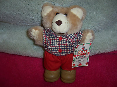 """WENDY'S HOLIDAY BOONE FURSKIN HOLIDAY BEAR VINTAGE 1986 TAG W/ OLD LOGO 7"""" TALL"""