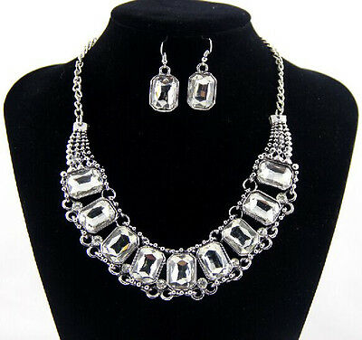Fashion Retro Clear Crystal Statement Chunky Choker Silver Necklace Earring 1Set
