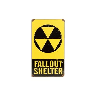 Fallout Shelter Metal Sign Distressed Vintage Atomic Age Military Decor 8 x 14